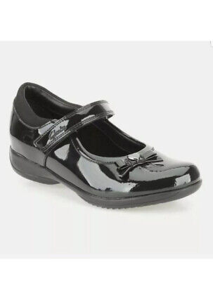 Clarks Girls DAISY GLEAM Black Patent Leather School Shoes UK SIZE 10 H EU 28. • 23.99£