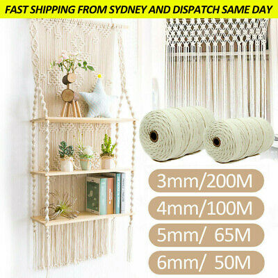 AU12.79 • Buy 3/4/5/6 Mm Macrame Rope Natural Beige Cotton Twisted Cord Artisan Hand Craft AU