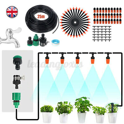 25m Automatic Drip Irrigation System Plant Timer Self Watering Garden Hose Kit • 12.34£