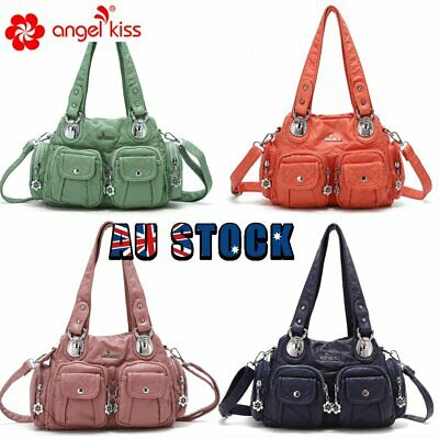 AU36.99 • Buy ANGELKISS Brand Design Women Washed Soft PU Leather Handbag Shoulder Bag Purse