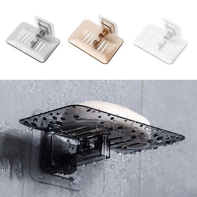 Single Soap Holder Bathroom Wall-Mounted Rack Layer Soap Dish Drain Suction- • 3.79£