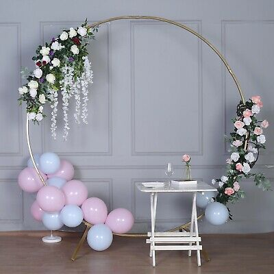 $116.58 • Buy 7.5 Feet Gold Metal Wreath Round Backdrop Stand Wedding Arch Decorations Sale