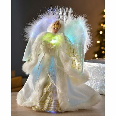 Christmas Angel Tree Topper Decoration Colour Changing Fibre Optic Lights 25cm • 19.99£