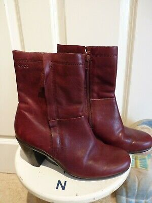 Ecco Burgundy High Ankle Boots Size 5 38 • 10£
