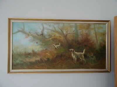 Large Oil Painting With Hunting Scene Dogs Partridges • 130£