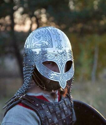 Medieval Viking Vendel Steel Etched Helmet With Chainmail Gift • 125£