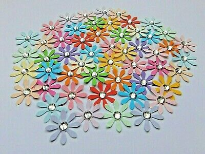 90 Paper Daisy Gem Flower Embellishments-6 Mixes-Brights & Pastels-Cards Crafts • 1.85£