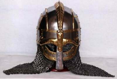 Medieval Steel Viking Vendel Helmet With Chainmail Hand Forged SCA/ Larp Gift • 199£
