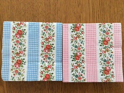 Cath Kidston 2 Paper Napkins Decoupage Craft Gingham Rose Stripe Blue Pink New • 1.50£