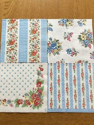 Cath Kidston 4 Paper Napkins Decoupage Craft Highgate Rose Folk Flowers Lace New • 2.50£