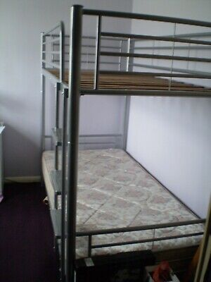 Bunk Bed (or 2x Singles) - Metal (Steel) - Metallic Silver - Very Good Condition • 49.98£