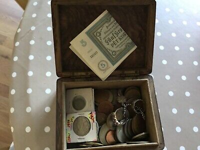 Mixed Lot Of Antique Foreign Coins, Etc In Antique Wooden Box • 3£