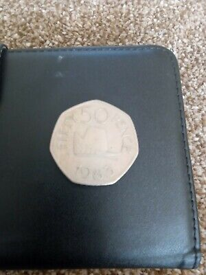 Large Old Style Fifty Pence 50p Coin 1983 Bailiwick Of Guernsey Ducal Hat Cap  • 1£