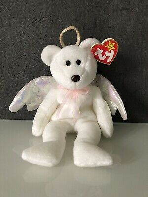 TY Beanie Babies - Halo The Angel Bear 1998 - BROWN NOSE- MINT With TAG No.425 • 99£