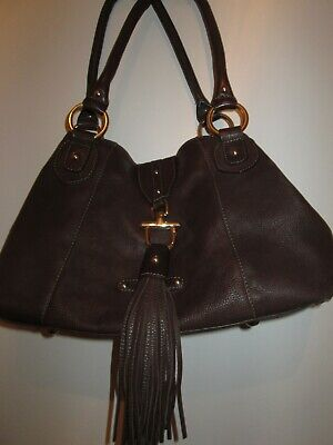Ladies Hand Bag By Patrick Cox Brown Leather Fringe Excellent Condition  • 40£