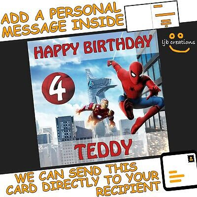Personalised SPIDERMAN Birthday Card Marvel Iron Man Son Grandson Brother Boy • 2.75£
