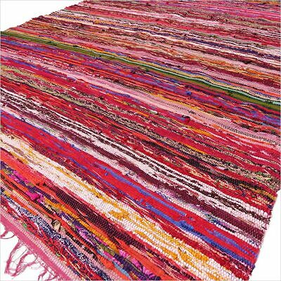 £19.97 • Buy Indian Rag Rug Multicoloured With Red Tint (150 X 90cm)