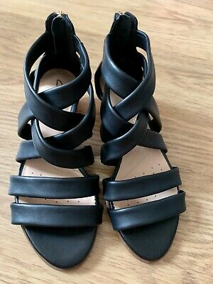 Clarks 'Mena Silk' Black Leather Sandals UK Size 3D • 22£
