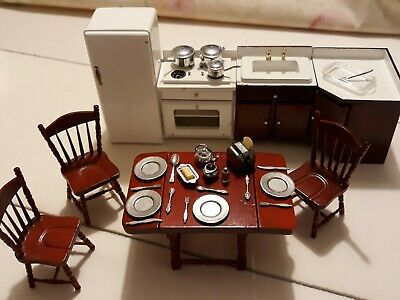 Dolls House Furniture Kitchen And Dining Room Set Plus Crockery, Pans, Cutlery • 4£