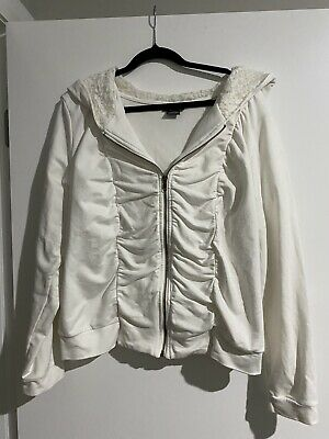 AU15 • Buy City Chic Zip Jacket Size S (16) White With Lace Hood