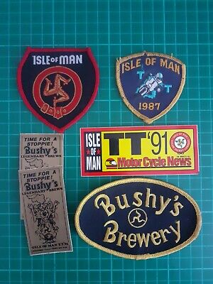 Isle Of Man TT Motorcycle Biker/Bushy's Brewery Patches/badges & Stickers  • 5.50£