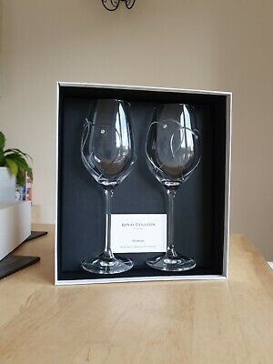 2 X ROYAL DOULTON CRYSTAL TWO HEARTS ENTWINED PROMISES WINE GLASSES Brand New • 19.99£