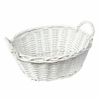 Handmade Wicker Oval Storage Gift Hamper Basket With Handles, White Or Grey • 7.99£