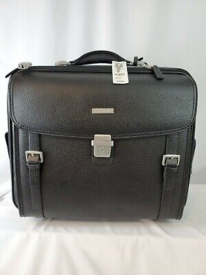 Brooks Brothers Black Pebbled Leather Suitcase Wheeled Briefcase Office Trolley  • 228.17£