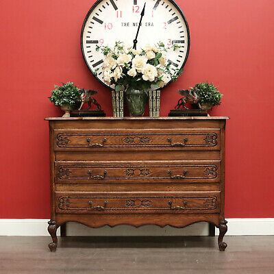 AU1195 • Buy Antique Chest Of Drawers, Antique French Oak 3 Drawer Hall Cabinet Cupboard