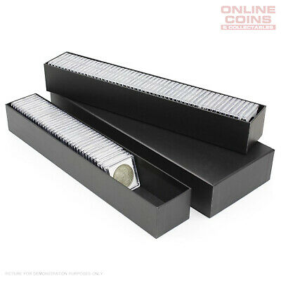 AU18.95 • Buy BCW Black Double Row 2x2 Coin Box - Suit Coin Holders And Quadrum Capsules
