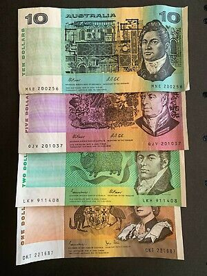 AU26 • Buy Lot A - Old Australian Circulated Note Lot $10, $5, $2, $1, Very Collectable