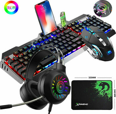 AU80.83 • Buy Rainbow Backlit Wired Gaming Keyboard Mouse And RGB Headset For PC PS4 Xbox One