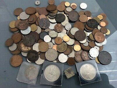 Job Lot Mixed Old Coins  Uk And Foreign Crowns Etc 1.3 Kg • 9.99£