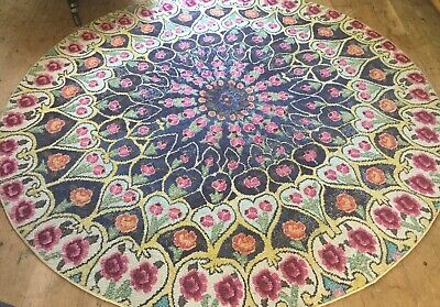 Large Contemporary 8ft Circular Floral Vintage Style Shabby Chic Bohemian Rug  • 0.99£
