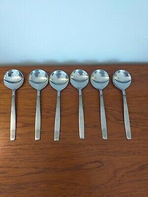6 X VINERS OF SHEFFIELD STAINLESS STEEL SOUP SPOONS 19cms • 10£