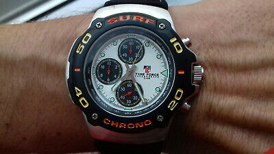 TIME FORCE Vintage Collection Surf Chronograph TF892402 NOS Watch Montre 100M Wr • 111.71£