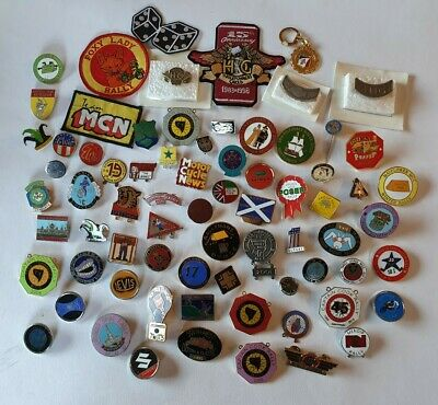 HUGE Lot X73 Vintage Motorcycle Motorbike Badges & Patches Some Enamel/rare/club • 80£