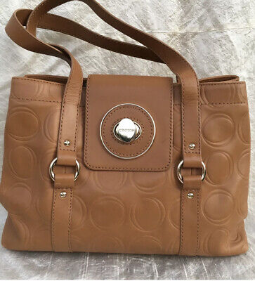 AU45.50 • Buy OROTON Large Caramel Leather Bag With Embossed 'O' Pattern AS NEW!!