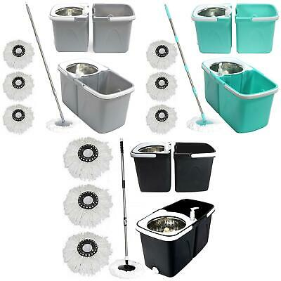 £19.99 • Buy Space Saving 360° Rotating Dual Spin Dry Mop With Bucket 3 Microfibre Heads Set