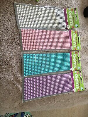 Crafty Creations - Self Adhesive Gems Pink Purple Blue And Silver • 4.99£
