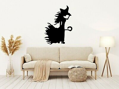Halloween WITCH WITH STICK Stickers Window Decoration Black  Party Kids Decal M • 2.49£
