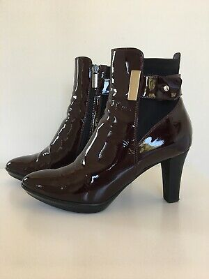 Russell & Bromley Aquatalia Uk 4.5 Ruby Dry Patent Burgundy Ankle Boots • 6£