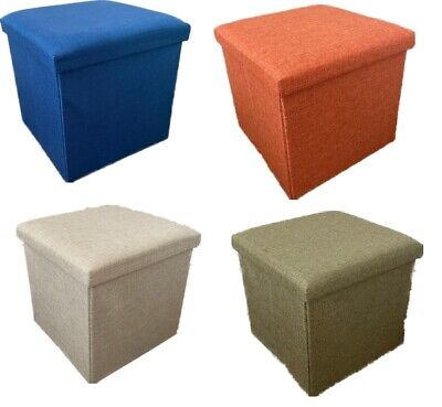 Linen Folding Ottoman Storage Box Seat Bedroom Living Room Footstool Chest  • 11.99£