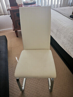 AU100 • Buy White Leather Dining Chairs X5
