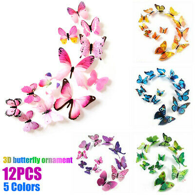 AU3.99 • Buy 12pcs 3D DIY Wall Decal Stickers Butterfly Removable Home Room Art Decor