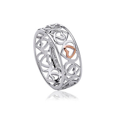 NEW Welsh Clogau Silver & Rose Gold Affinity Heart Band Ring £15 OFF! SIZE N • 64£