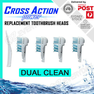 AU8.45 • Buy CROSS ACTION POWER DUAL CLEAN Oral-B Compatible Replacement Toothbrush Heads X4