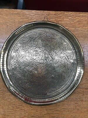Vintage Indian Moroccan Decorative Embossed Brass Tray Wall Art Plate Boho Deco • 19.99£