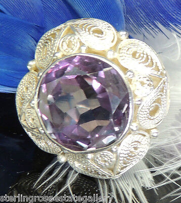 AU264.99 • Buy 12 Mm Alexandrite Vintage 7/8  Hand Wrought Sterling Silver .925 Ring Adjustable
