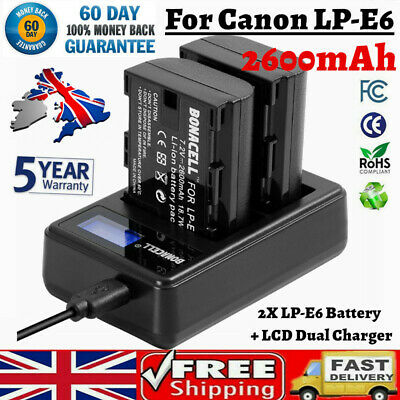 2X  LP-E6 Camera Battery+ Dual Charger For Canon EOS 60D 60Da 6D 70D 7D 80D 5DS • 17.49£